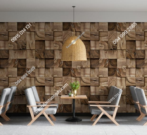 Tranh dán tường giả gỗ ô vuông 1032880003