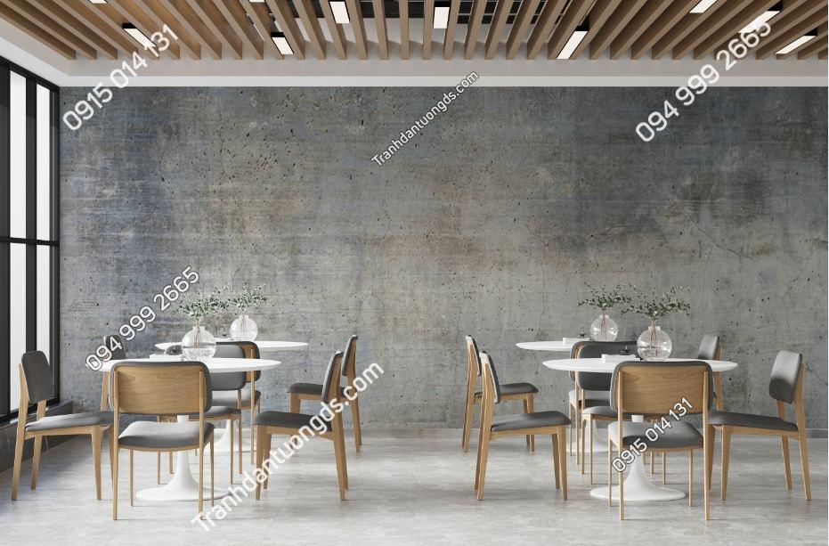 Tranh dán tường giả xi măng xám dán quán cafe 1009291042