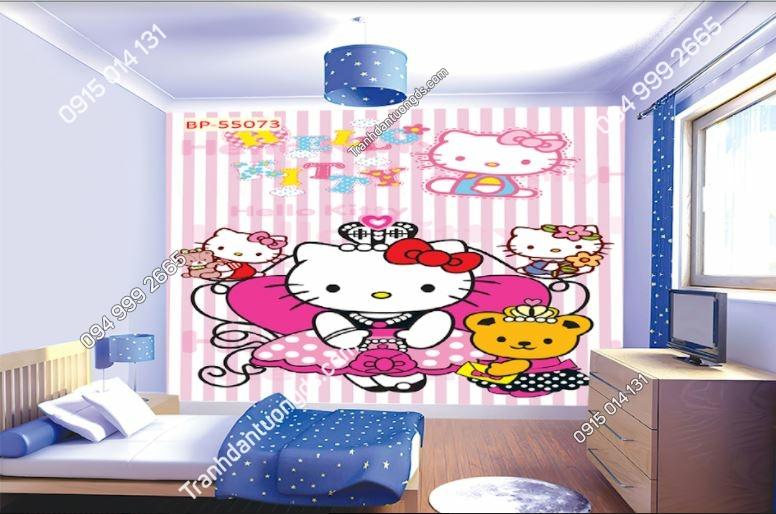 Tranh dán tường hello kitty cho phòng bé gái 55073