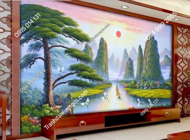 Tranh dán tường phòng khách cây tùng và chim hạc weili_13511204