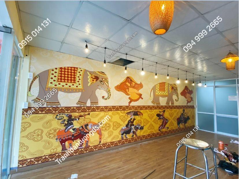 Tranh dán tường quán ăn Thái Lan 3D