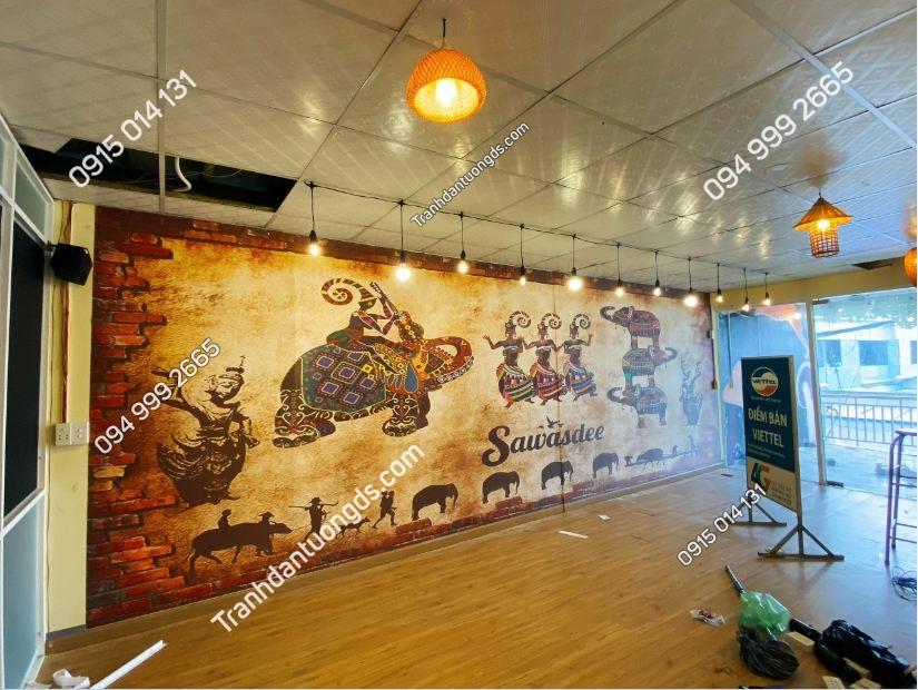 Tranh dán tường quán ăn Thái Lan