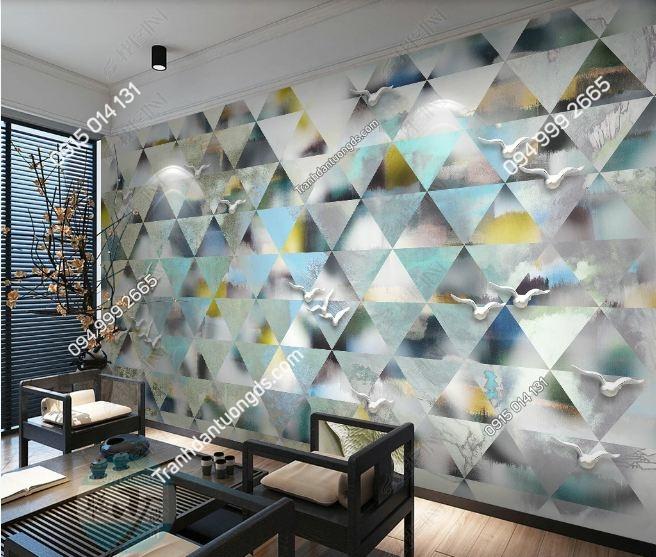Tranh họa tiết tam giác hiện đại dán tường weili_16840610