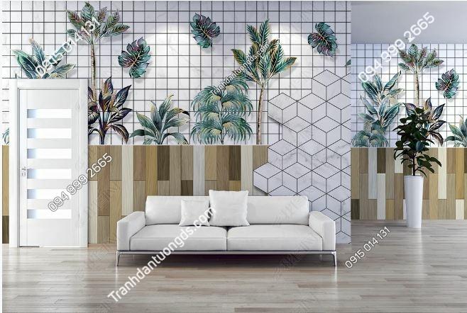 Tranh lá cây dán tường văn phòng làm việc weili_23767133