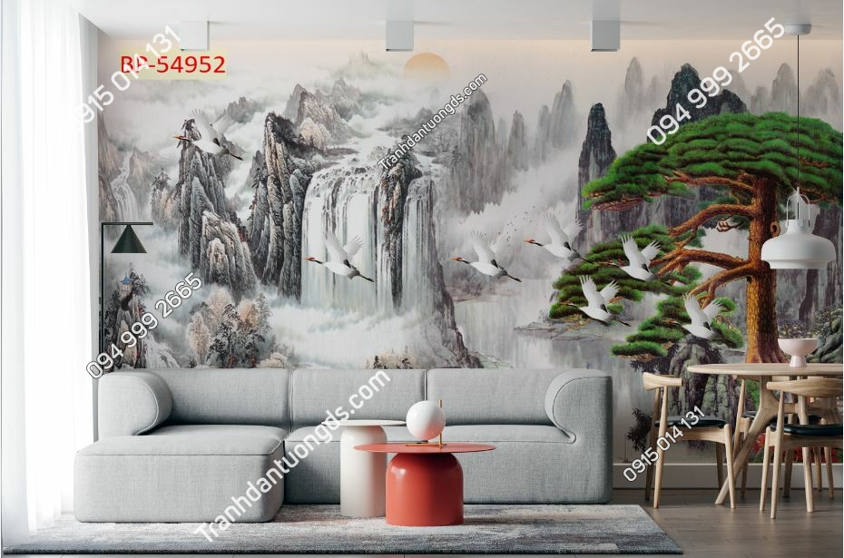Tranh thủy mạc tùng hạc dán phòng khách 54952