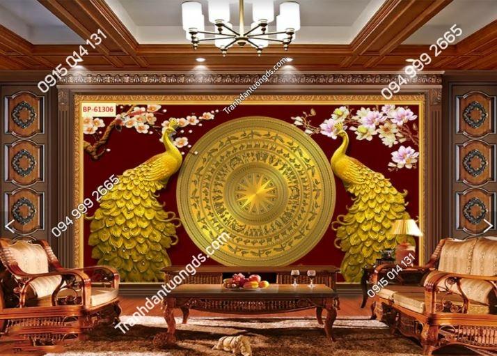 Tranh trống đồng và công vàng dán phòng khách sang trọng 61306