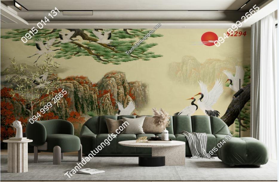 Tranh tùng hạc dán tường phòng khách 51294