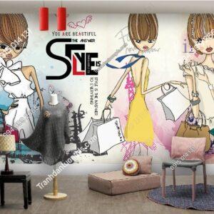 Tranh tường dán shop quần áo weili_17009182