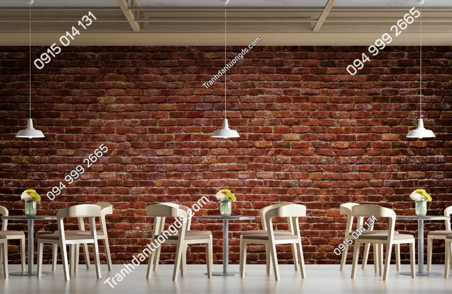 Tranh tường gạch cháy dán quán ăn 609284660