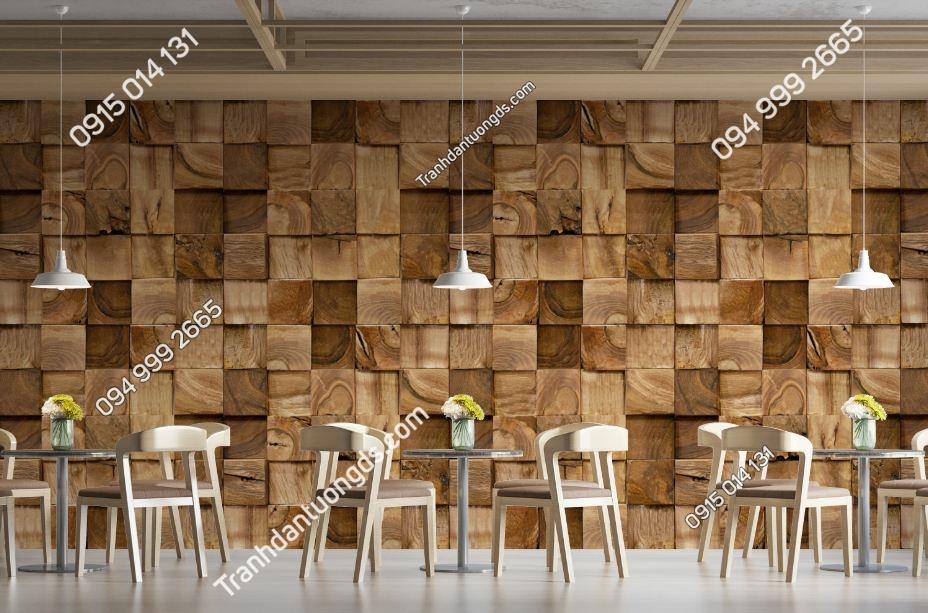 Tranh tường giả khối gỗ vuông 3D 1381509782