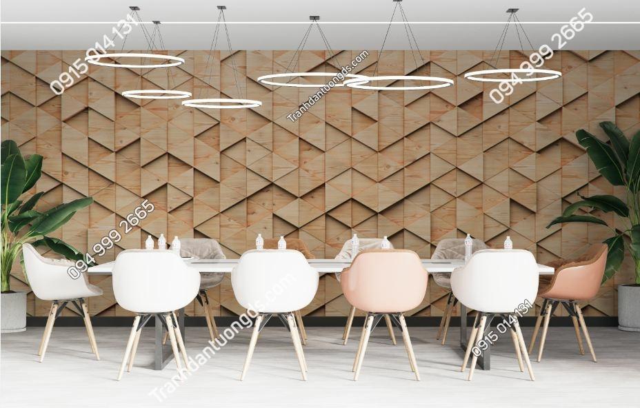Tranh tường họa tiết gỗ tam giác 595052651