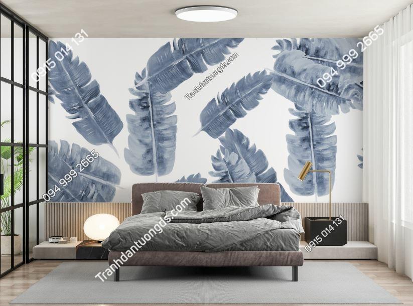 Tranh tường lá chuối bạc dán phòng ngủ 1953113353