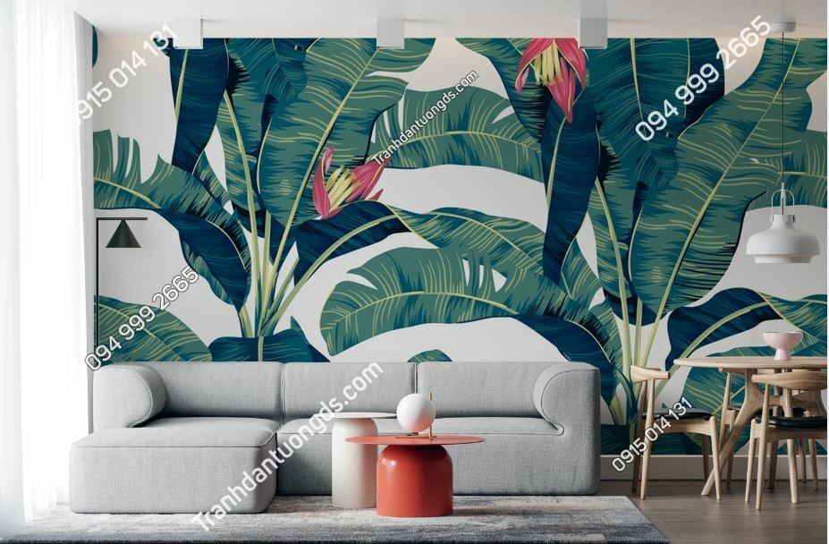 Tranh tường lá chuối xanh dán phòng khách 1856107537