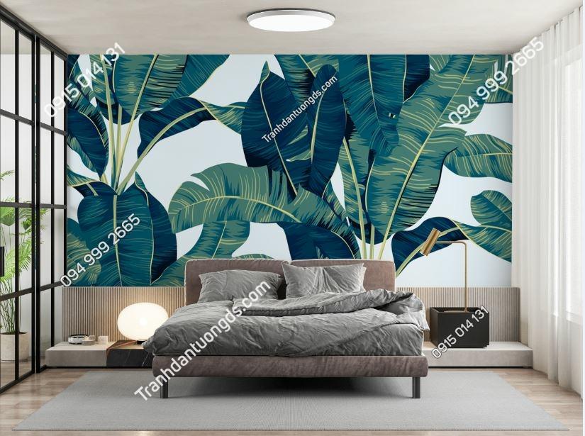 Tranh tường lá chuối xanh dán phòng ngủ 1869416218