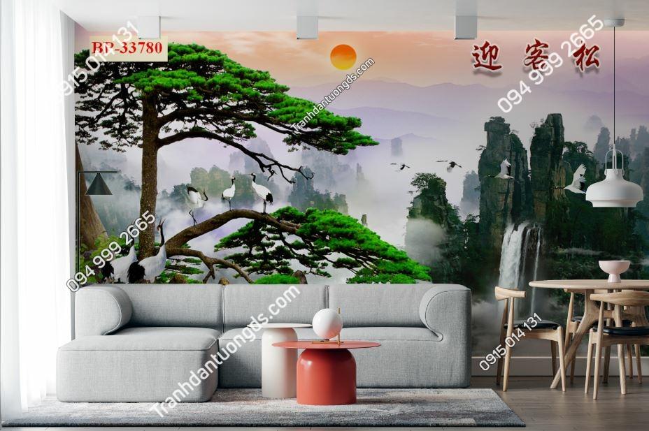 Tranh tường tùng và chim hạc dán sau sofa 33780