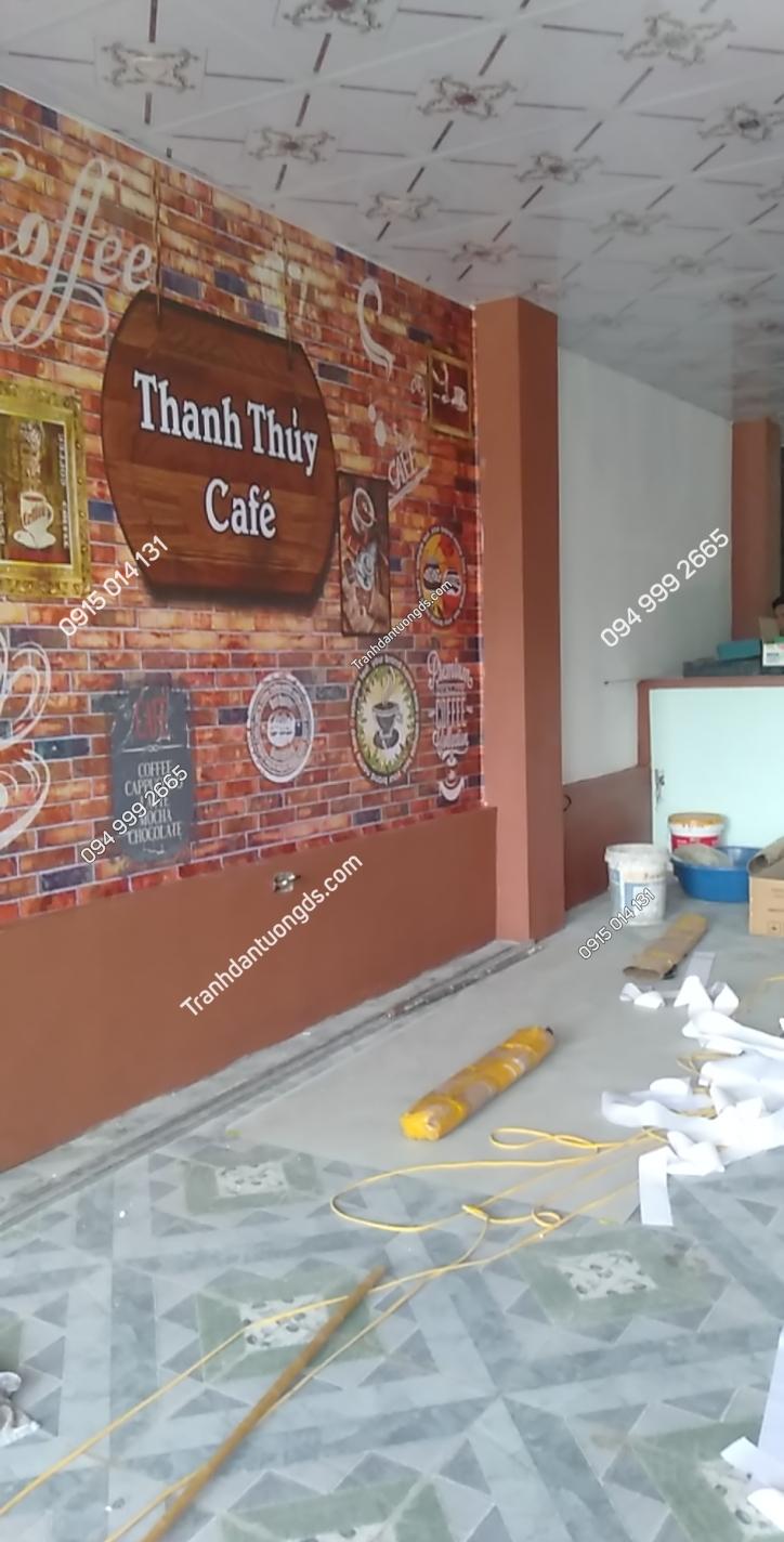 Tranh dán tường cafe thanh thủy đẹp