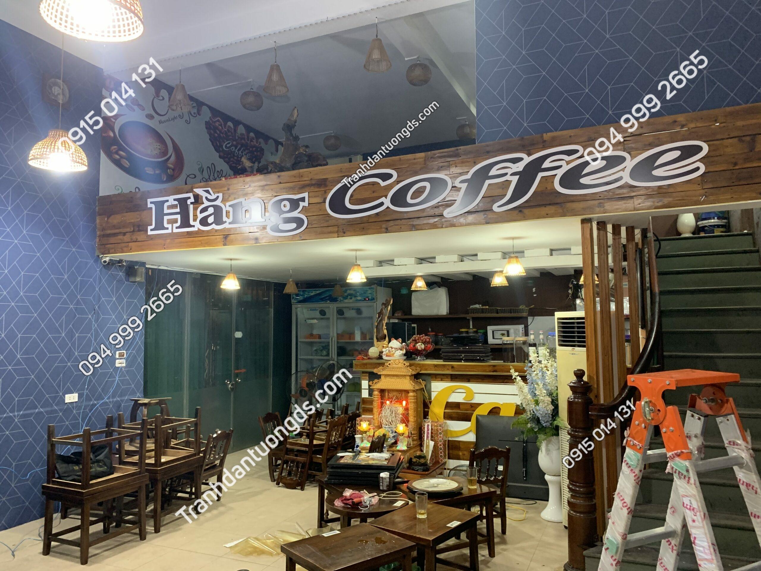 Giấy dán tường kẻ cho quán cafe