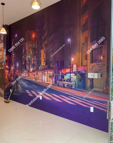 Tranh dán tường hongkong quán trà chanh ảnh 5