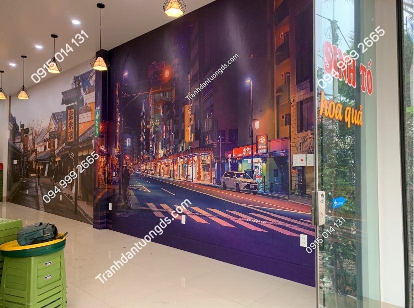 Tranh dán tường hongkong quán trà chanh