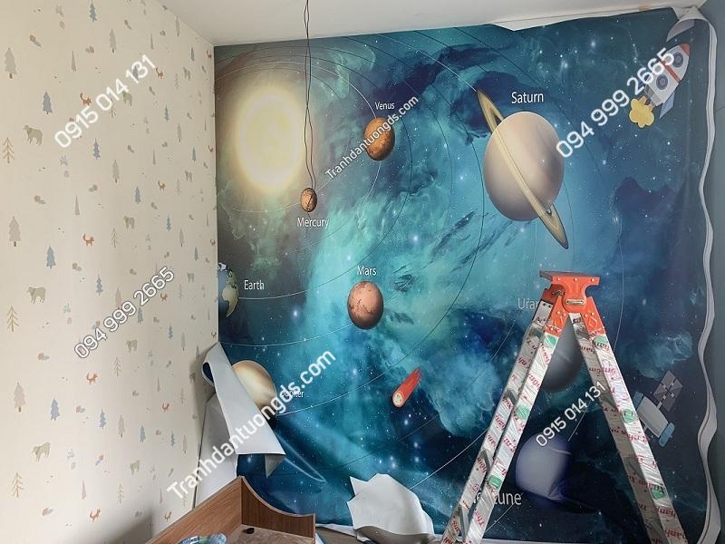 Tranh dán tường ngân hàng galaxy hiện đại kết hợp giấy dán 3D cho phòng trẻ em