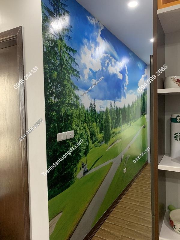 Tranh dán tường phong cảnh phòng bếp 3D