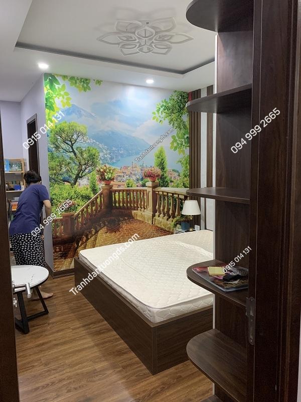 Tranh dán tường phòng ngủ chiều sâu 3D