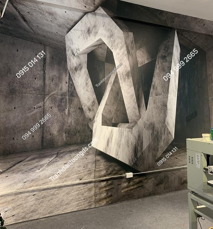 Tranh dán tường khối xi măng